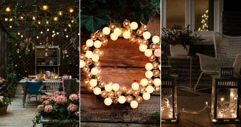 Inred kreativt med ljusslingor utomhus